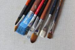 brushes befläckt kanfas Royaltyfri Bild