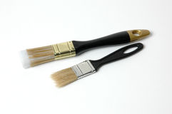 Brushes from a bristle. Lie on a white surface Stock Photo