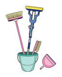 Brushes in a bucket. Material to clean the house Royalty Free Illustration