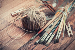 Brushes bundle on wooden background Stock Photography