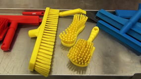 Brushes for cleaning in the food industry stock footage
