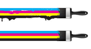 Brushes with cmyk paint Stock Photography
