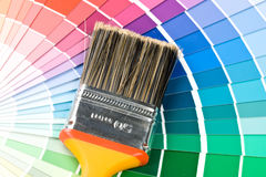 Brushes and color guide Royalty Free Stock Images