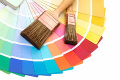 Brushes with a color palette guide stock image