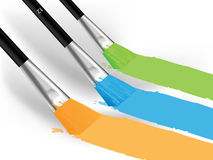 Brushes and colorful prints Stock Photo
