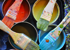 Brushes and Colors Royalty Free Stock Photo