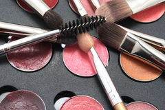 brushes cosmeticen Royaltyfri Fotografi