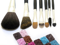 brushes cosmeticen Royaltyfria Bilder