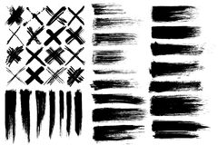 Brushes & cross marks. Set of different vector brushes and cross marks isolated on white background royalty free illustration