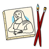brushes den kanfaslisa mona målningen Royaltyfri Bild