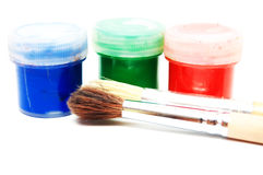 Brushes and dye Royalty Free Stock Photo
