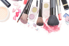 Brushes on eye shadows palette Stock Photography