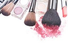 Brushes on eye shadows palette Stock Photos