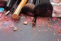 Brushes on eye shadows palette Stock Image