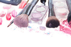 Brushes on eye shadows palette Royalty Free Stock Images