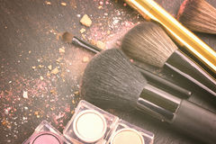 Brushes on eye shadows palette Stock Photos