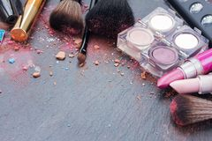 Brushes on eye shadows palette Stock Photo