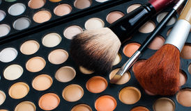 Brushes and eyeshadow palette Royalty Free Stock Images