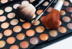 Brushes and eyeshadow palette Royalty Free Stock Photography