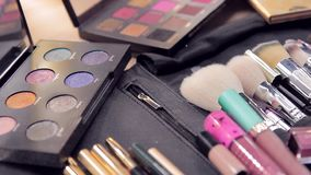 Brushes and eyeshadows close-up stock video footage