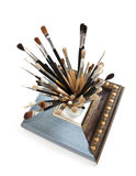 Brushes and frame Royalty Free Stock Photos