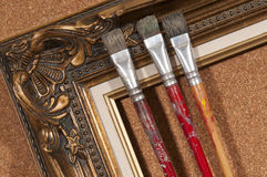 Brushes and frame Royalty Free Stock Images