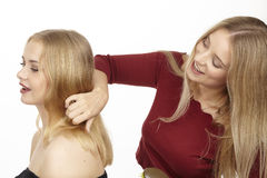 She brushes her girlfriend the hair. She brushes her young attractive blonde girlfriend the hair with a big hairbrush stock photography