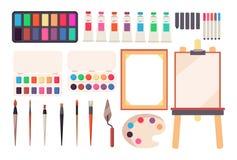 brushes hjälpmedel för målningsrullen Tecknad filmmålarpensel och kanfas, staffli och målarfärger Vattenfärgpalett Konstnärlig ve stock illustrationer