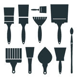 Brushes Icons Set - Vector Brush Illustration Stock Images