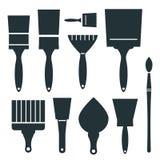 Brushes Icons Set - Vector Brush Illustration Stock Images
