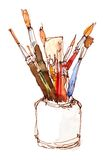 Brushes in a jar Royalty Free Stock Photos