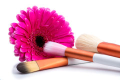 Brushes for make-up  with  big pink flower Royalty Free Stock Photos