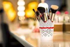 Brushes for make-up on the table Stock Photo