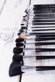 Brushes for makeup closeup. Royalty Free Stock Image