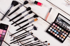 Brushes for makeup and decorative cosmetics. Stock Images