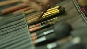 Makeup Brushes. Brushes and other different attributes for the makeup artist stock video