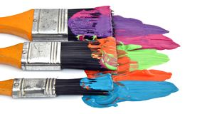 Brushes and paint Stock Photography