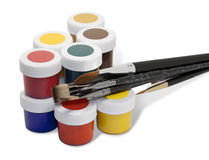 Brushes and paint Stock Photo