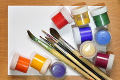 Brushes and paint. Royalty Free Stock Photography