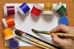 Brushes and paint. Stock Image