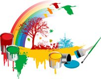 Brushes with paint and bucket. Brushes with paint, flowers, rainbow, tree and birds, vector illustration Royalty Free Stock Photography