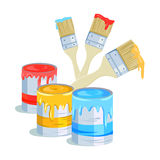 Brushes and paint cans. Vector illustration Stock Image