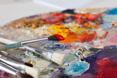 Brushes in paint Royalty Free Stock Photo