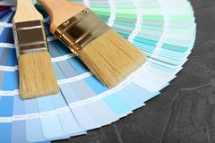Brushes and paint color palette samples stock photography