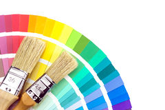Brushes for paint over color samles Royalty Free Stock Images