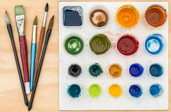 Brushes and paint palette Royalty Free Stock Image