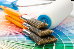 Brushes and paint-roller Stock Photos