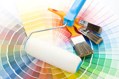 Brushes and paint-roller Royalty Free Stock Image
