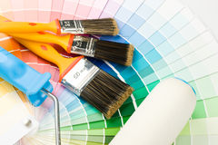 Brushes and paint-roller Stock Photo