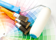 Brushes and paint-roller Royalty Free Stock Photography